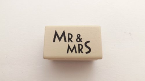 East of India Wooden Rubber Stamp - Mr and Mrs - Wedding Gift Cards