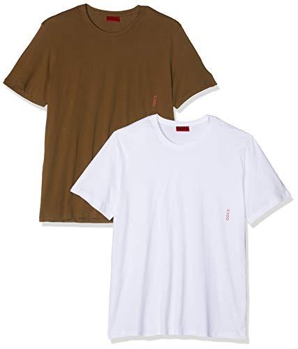 Hugo T-Shirt RN Twin Pack, Verde (Dark Green 303), Medium (Pacco da 2) Uomo