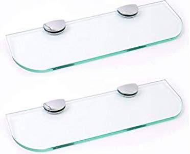 Set di due mensole in vetro con angoli curvi, 6 mm di spessore, in vetro temperato trasparente, per bagno, cucina, camera da letto, 500 mm x 100 mm, con grandi supporti con finitura cromata