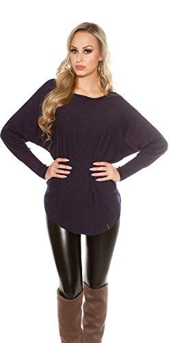 Koucla Damen Feinstrick Long Pullover Pulli Sweater mit Fledermaus Ärmeln und Knöpfen | Minikleid Strickkleid Kleid | blau 34 36 38