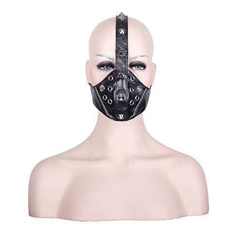 Peggy Gu Steampunk Reißverschluss und Niet Design Motorrad Anti Staubmaske Half Face Gothic Biker Männer Cosplay Wind Cool Punk Halloween Maskerade Maske