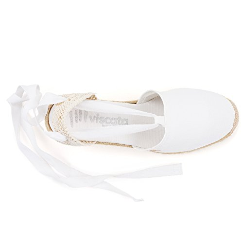 VISCATA Escala 2.5 Heel, Soft Ankle-Tie, Closed Toe, Classic Espadrilles Heel Made in Spain Blanc - Blanc