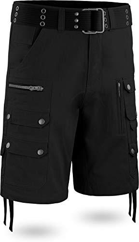 normani Herren Vinatge Sommerhose Shorts Bermuda mit vielen Taschen, leichte atmungsaktive Bio-Baumwolle, ideal für die warmen Sommertage inkl. Gürtel Farbe Schwarz Größe XXL