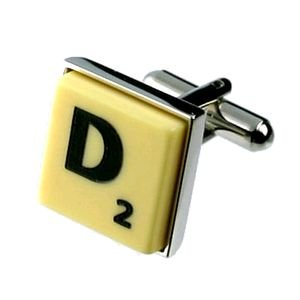 English Gems boutons de manchette Lettre D x2 avec étui Noir