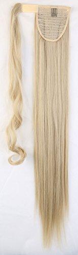 S-noilite® Haarteil Zopf Pferdeschwanz Glatt Haarverlängerung 66cm natürlich Wrap on Ponytail div. Farben (66cm ,Graublond Mix Bleichmittel Blond)