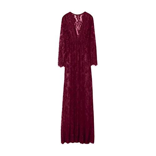 ografie Schwangere V-Neck Frauen Spitze Mode Langarm Sexy Abendkleid Schwangere Frau langes Kleid bequemes Kleid Abendkleid Rock Mama Geschenk kleines (XXXL, Rot) (Fledermaus Frau Kostüm Kostüme)