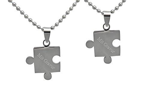 Hanessa Gravierte Puzzle Kette mit Wunsch Gravur Partner-ketten aus Edelstahl in silber Puzzle-Teil Anhänger Schmuck für Paare