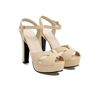 Enochx Donna Sandali Primavera Estate scarpe Club Gladiator materiali personalizzati similpelle party di nozze & abito da sera Chunky HeelBuckle Split White