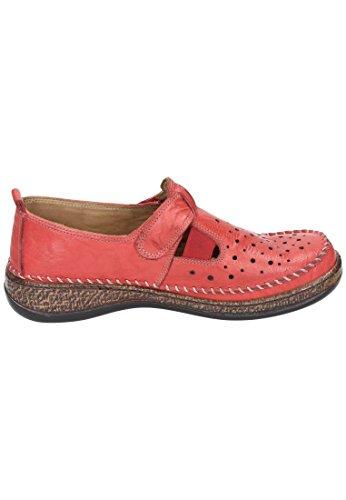 Comfortabel Damen Slipper, schwarz, Leder, 941861-1 Rouge