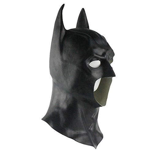nihiug Justice League Batman Batman Latex Maske Kopfbedeckung Maskerade Leistung Halloween Cosplay Requisiten,Black-OneSize (Black Cosplay Batman Mask)