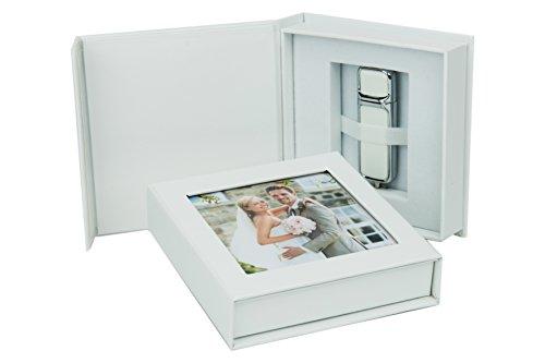 Elegantdisk Hochzeit USB-Box mit Bildfenster. Weiß