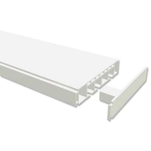 INTERDECO Gardinenschienen vorgebohrt Weiß 3-läufige Kunststoff Vorhangschienen 3-läufig, Concept, 360 cm