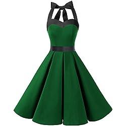 Dresstells® Halter 50s rockabilly polka dots audrey dress retro cocktail green