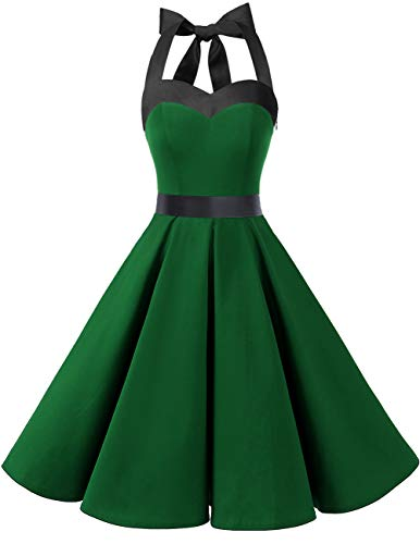Dresstells Damen Neckholder 1950er Vintage Retro Rockabilly Kleider Petticoat Faltenrock Cocktail Festliche Kleider Green Black 2XL - Grüne Cocktail Kleider Für Frauen