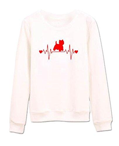 AILIENT Donna Gatto Stampa Felpa Casuale Sciolto Maniche Lunghe Pullover Girocollo Semplice Design Maglietta Tops Sweatshirt Pullover Autunno Invernale Red