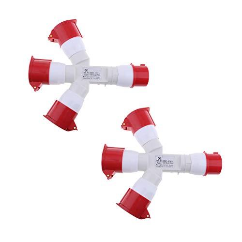 Homyl 2pcs (Rot) 16A Steckdose 3 Way Splitter Verteiler 380V 3 Pin Wasserdichte Elektrische Verbinder 16 Way Splitter