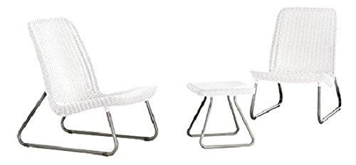 Keter 17197637 Lounge Set Rio, Rattanoptik, Kunststoff, weiß, 75 x 40 x 58 cm