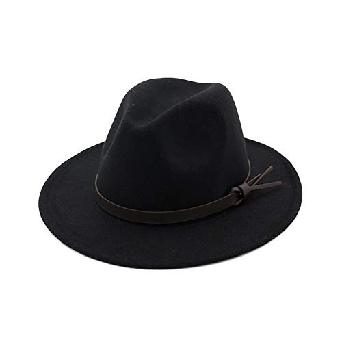 68deda10f Vim Tree001 Womens Fedora Hats with Belt Buckle Wide Brim Panama Fedora Cap  Black