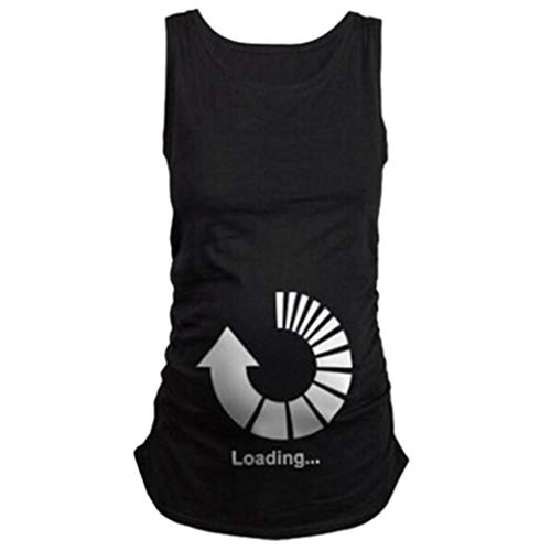 Amphia - Schwangere Mutterschaft Shirt ärmelloses T-Shirt Schwangere Tops - Schwangere Frauen-Rundhalsausschnitt-niedliche lustige T-Shirt der schwangeren Frauen ärmelloses Oberteile -