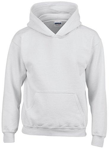 GILDAN Jungen Kapuzenpullover Weiß Weiß (Sweatshirt Kinder Gildan)