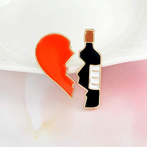 Truteraa - Weihnachten 2pcs / Set Emaille Pins gesetzt Weinflasche und Herz Brosche Personalisierte Set von 2 Heart Wein Stifte Geschenk für Weinliebhaber