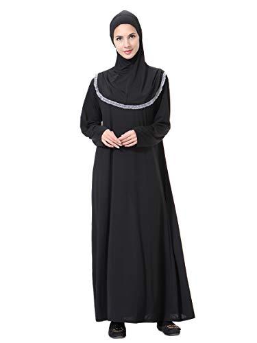 XDXART Frauen muslimischen Roben in voller Länge Hijab islamischen Abaya Maxi-Kleid Langarm Langen Mantel marokkanischen Kaftan Kaftan Kleid (Gray, L) (Marokkanischen Kaftan-kleider Für Frauen)