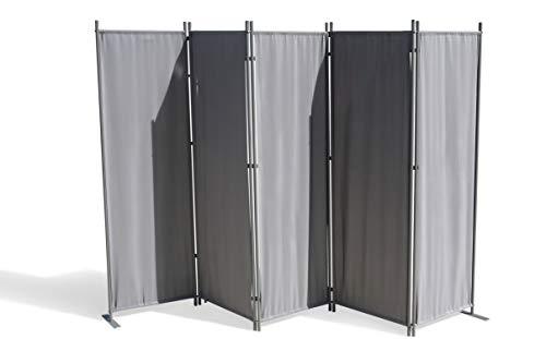 GRASEKAMP Qualität seit 1972 Paravent 5 teilig Grau 268 x 167 cm Raumteiler Trennwand Sichtschutz
