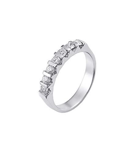 Gioielli di valenza anello veretta a 7 pietre in oro bianco 18k con diamanti ct. 0,70-13