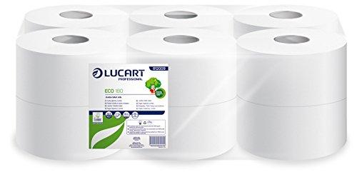 Lucart Professional 812009R de papel higienico tamano grande, 180 m, papel reciclado (Juego de 12)