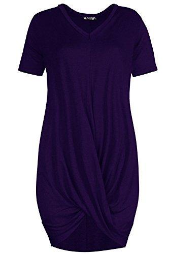Oops Outlet Damen gedreht drapiert Plunge V Ausschnitt überdimensional gerüscht T-Shirt Minikleid Top - Lila, Plus Size (UK 20/22) (Lila Plus Size Kleid)