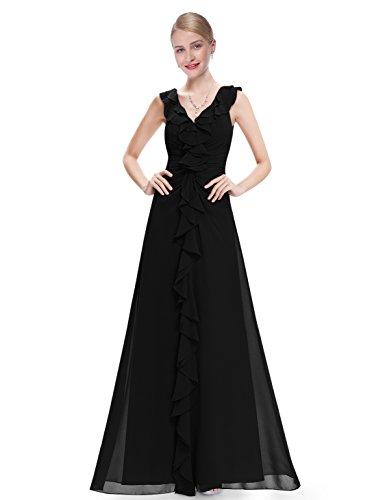 Ever Pretty Robe de soirée longue sans manche drapée 08219 Noir