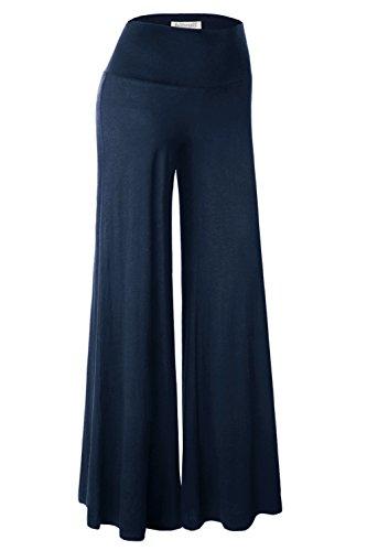 BAISHENGGT Damen Lange Stretch Lagenlook Hose im Marlene-Stil Navy S