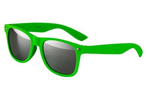 lle Nerd Retro Look Brille Pilotenbrille Vintage Look - ca. 80 verschiedene Modelle Neon Grün Matt Verspiegelt (Neon Party Sonnenbrille)