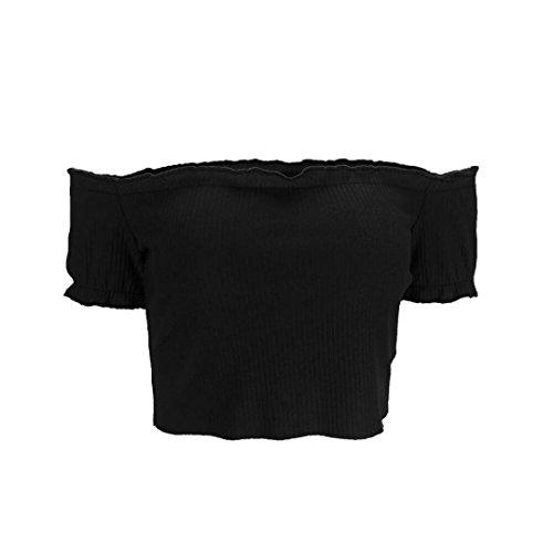 LONUPAZZ Femmes Été Sexy Solide Strapless Off Shoulder Crop Top Blouse Manches Courtes Noir