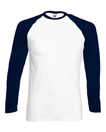 New Fruit of the Loom Mens Long Sleeve Cotton Baseball T Shirt White/ Deep Navy Small