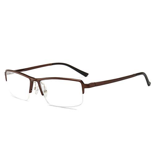 Chengduaijoer Geschäftshalbrahmenbrillenrahmen einfache quadratische Brillen Nicht verschreibungspflichtige Gläser für Frauenmänner (Color : Brown)