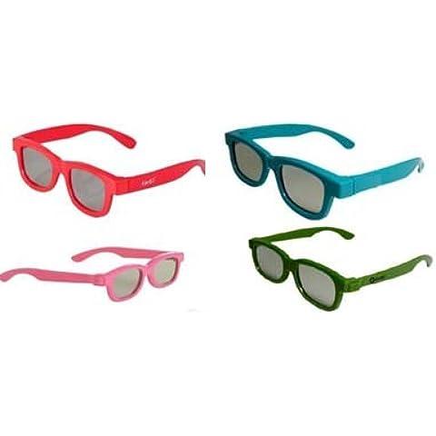 Ultra - Gafas 3D pasivas universales para niños (polarizadas, 4 unidades), color azul, verde, rosa y