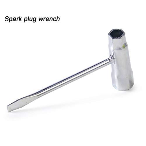 1 x chiave a T per candela, manico in chiave, 13 mm-19 mm, candela di accensione, chiave a bussola per cacciavite piatto saldato, per molte motoseghe e decespugliatori.