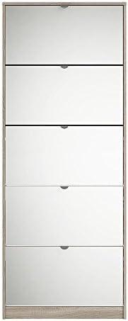 Tvilum Particle Board Bright Shoe Cabinet, 70052, Truffle, H181.9 x D71.2 x W20.1 cm, DIY Assembly