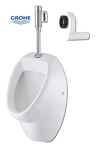Domino Urinal Set inkl. Grohe-Druckspüler & Siphon | Zulauf von oben | Ablauf waagerecht/senkrecht | Rondo 37339000 Pisuar (Ablauf waagerecht)