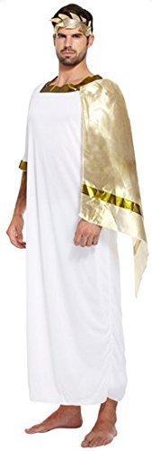 Cäsar Kostüm Historisch Kleid Outfit Erwachsene Männer-Weiß/Gold Römischer Gott-Kaiser Emperer Toga Julius (Gott Kostüme Für Männer)
