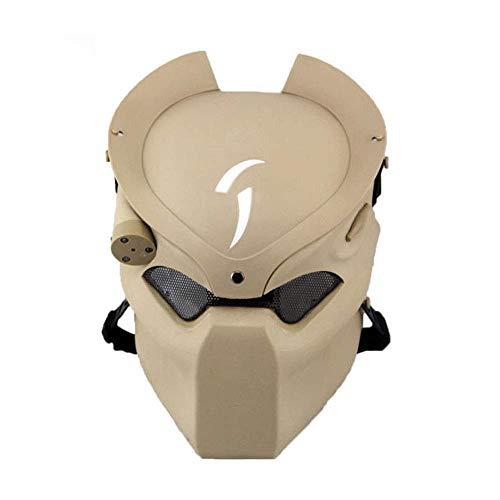 YaPin Alien Vs. Predator Maske Infrarot Streifen Lichtfeld CS Schutzmaske Outdoor Hider Lone Wolf Maske Outdoor Live CS Maske (Color : Sand) (Halloween Maske Uk Wolf)