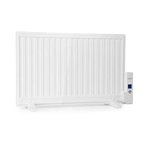 Oneconcept Wallander • Radiador de Aceite • Calefactor de Aceite • 800 W • Termostato Regulable • Pantalla LED • Delgado • Anticalentamiento • Programable • Montaje en la Pared • Patas • Blanco