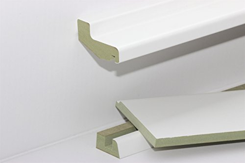 KGM Rohrverkleidung weiß Ober- & Unterteil | Modern Heizungsrohr Abdeckung weiss ✓feuchtehemmend ✓Kabelkanal Sockelleiste ✓Folie weiß auf MDF | benötigtes Mittelteil separat erhältlich | Länge 2.4m