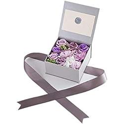 Huangwanru Ramos de Rosas de Jabón para el Día de San Valentín Novia Aniversario Cumpleaños Día de la Madre Envoltura Flor Rosa Flores para la Fiesta de Bodas en casa (Color : Violet)