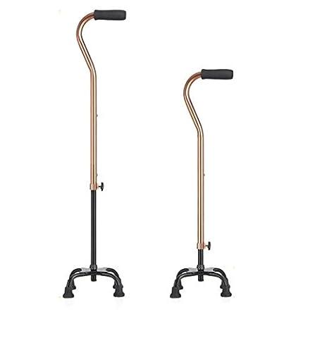 Cane einstellbare Quad Cane einstellbare Quad Gehstock für rechten oder linken Hand Gebrauch Gold