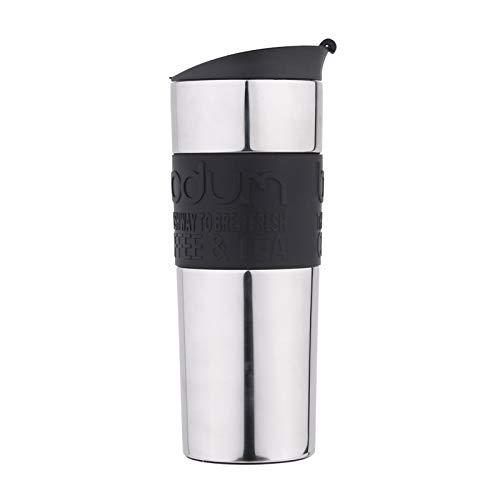Fakdr Kaffeetasse Wiederverwendbare Tasse, Spiegelflasche, 304 Edelstahl Büro Schulcafé, in Mehreren Farben Erhältlich (213Mm * 62Mm),Black (Glas Flaschenverschlüsse Milch)