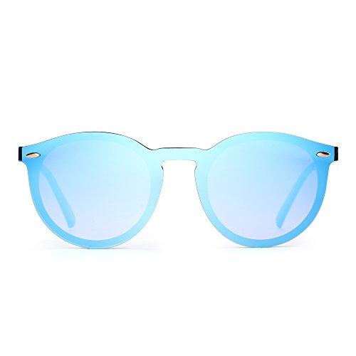 JIM HALO Verspiegelt Randlos Sonnenbrille Reflektierend Ein Stück Rund Brille für Damen Herren(Schwarz/Spiegel Blau)