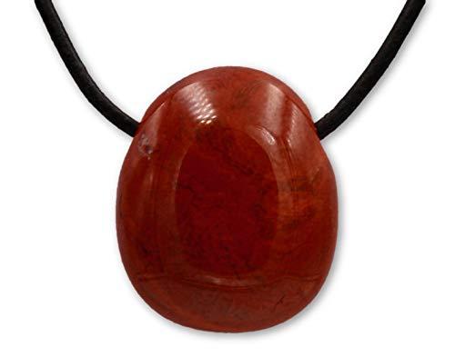 Taddart Minerals - Rot Brauner Trommelstein Anhänger aus dem natürlichen Edelstein Jaspis mit Lederkette