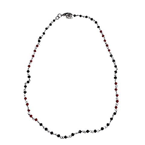 Silvestoo India Black Onyx & Red Coral Gemstone Necklace PG-123757